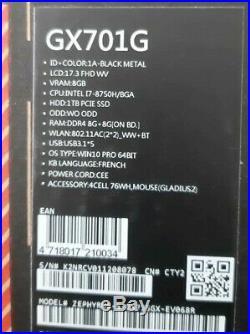 ASUS ROG Zephyrus S GX735GX-EV068R (i7-8750H, 16Go, SSD 1To, RTX 2080,144Hz)