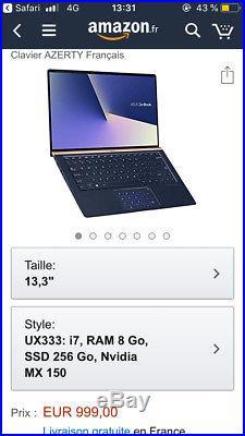 Asus Zenbook 13,3 ordinateur neuf emballé