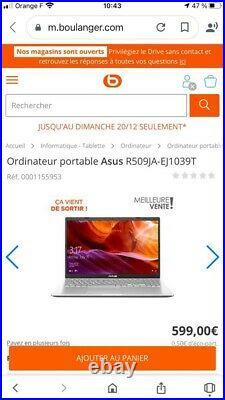 NEUF Ordinateur portable Asus R509JA-EJ1039T+ sa POCHETTE