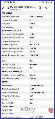 Ordinateur Portable Asus Rog Strix g553vw-dm066t, Très Bon État
