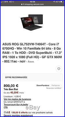 Portable Gamer Asus Rog GL752 VW 17 pouces core i 7